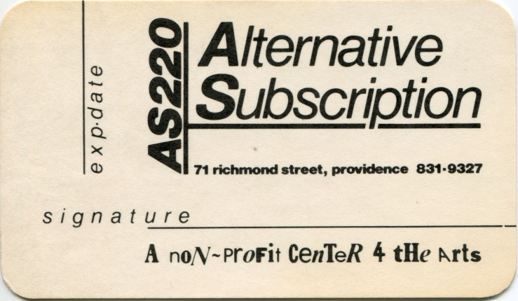 AS220-Subscription card 71 Richmond